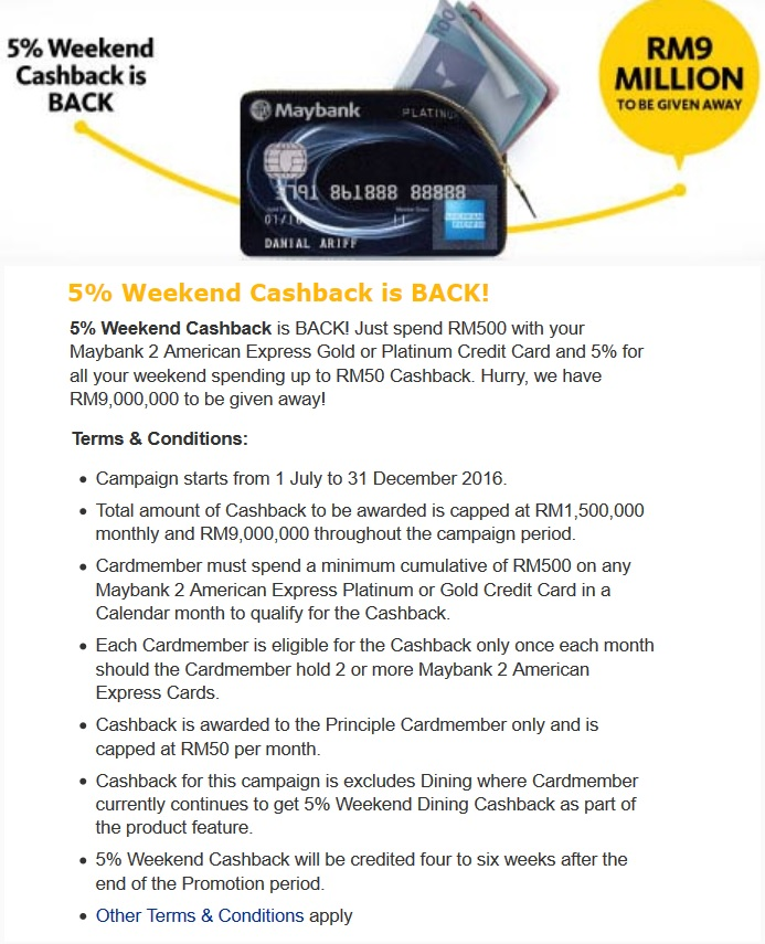 Maybank 2 Cards Amex Cash Back Promo 2016