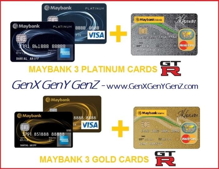 Maybank 3 2 plus 1 Platinum Gold Cards AMEX Visa MasterCard