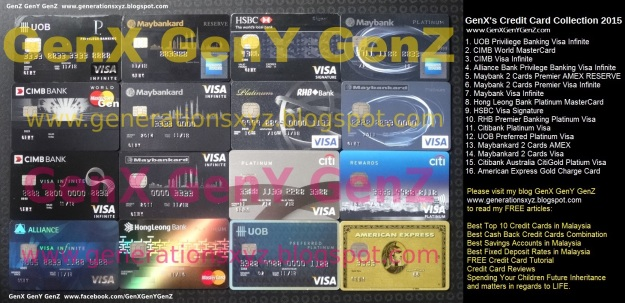 My Credit Cards 2015 GenX GenY GenZ