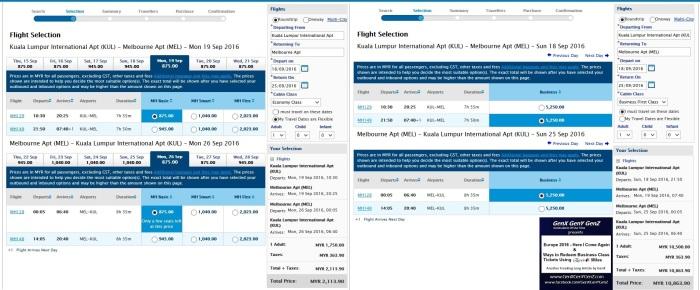 KL Melbourne Air Ticket Price