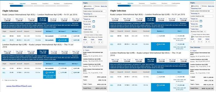 KUL LHR KL London Air Ticket Price