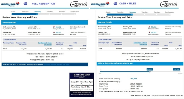 KUL LHR KL LondonMelbourne Full Redemption and Cash Plus Miles