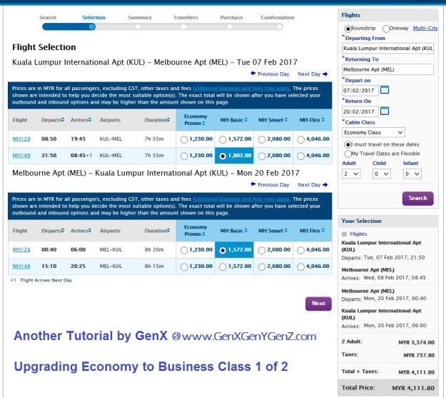 Upgrade Economy to Business Class 1