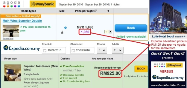 Agoda vs Expedia Lotte Seoul Price Diff