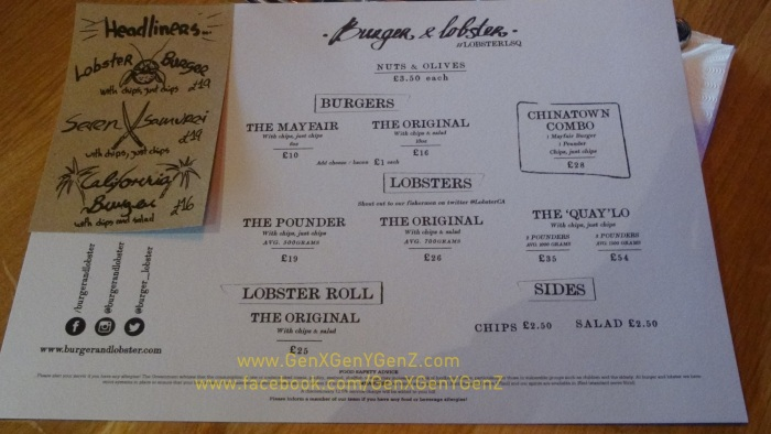 Burger and Lobster Chinatown London Menu