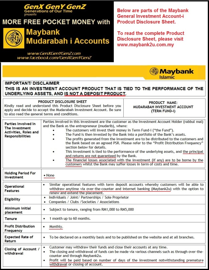 Maybank General Investment Account i GIA i Product Disclosure Sheet