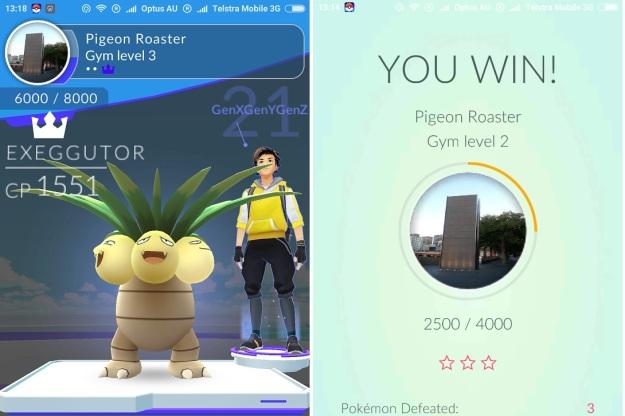GenX GenY GenZ Pokemon Go Gym Win