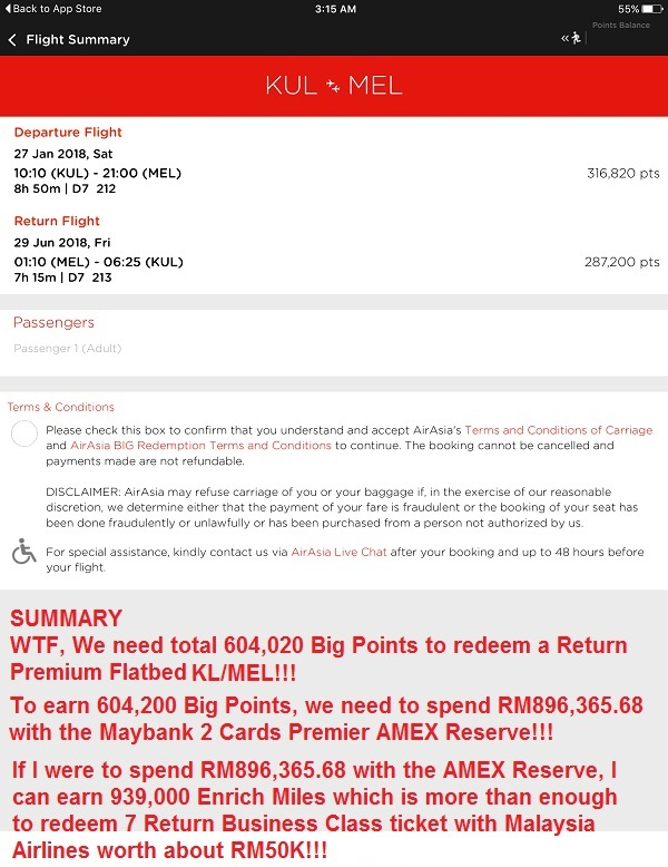 AirAsia Big Loyalty Premium Flatbed KL Mel Summary