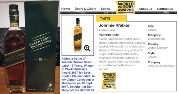 GenX Spirits Johnnie Walker Green Label Collection 2018