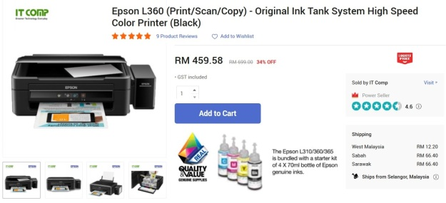 Epson L360 with ink