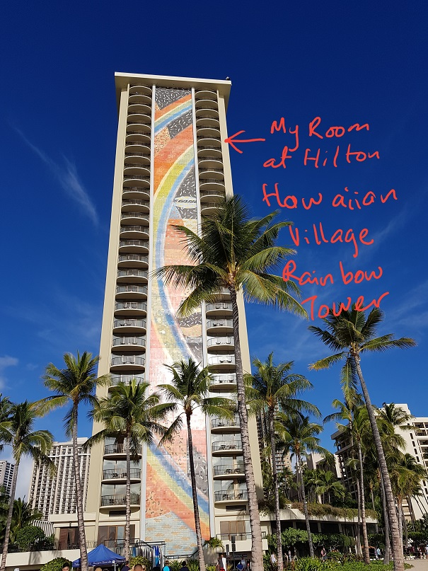 Hilton Hawaiian village from the beach Rainbow tower