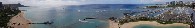 Hilton Hawaiian village Rainbow Tower Ocean Front Panaroma View 2