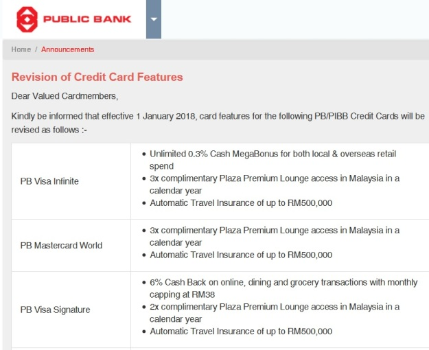 Public Bank Credit Card Benefits 2018