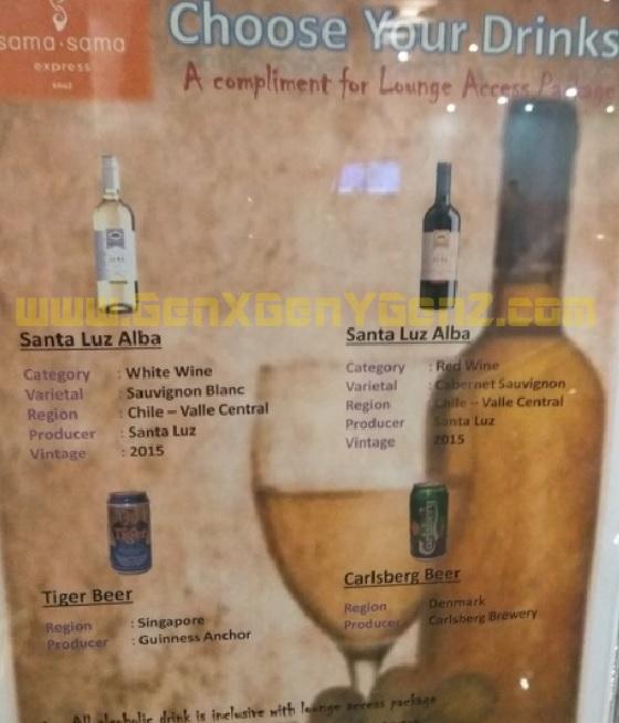 Sama Sama Airport Lounge KLIA 2 Malaysia drink Wine beer
