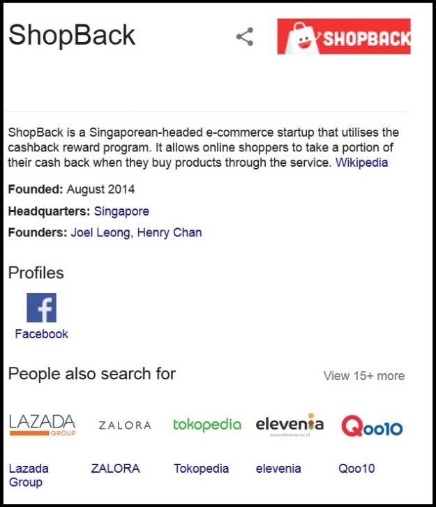Shopback on Google