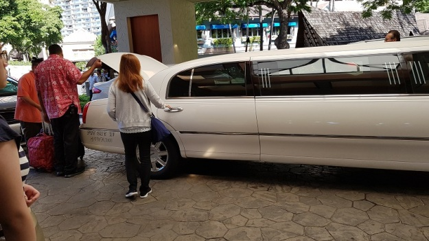Stretch Limo ride to airport wifey