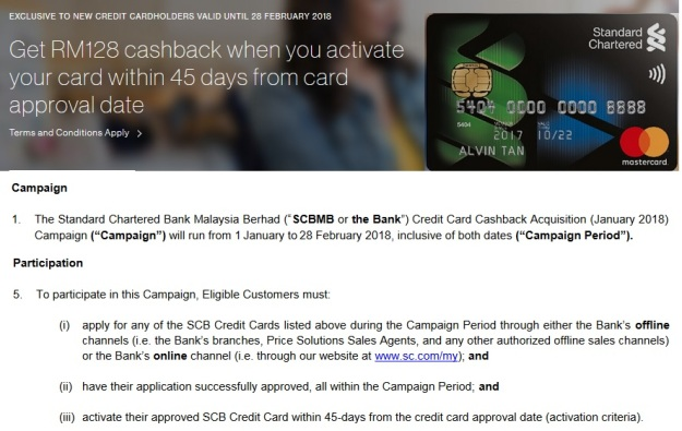 SCB Cash Back Gold MAsterCard campaign
