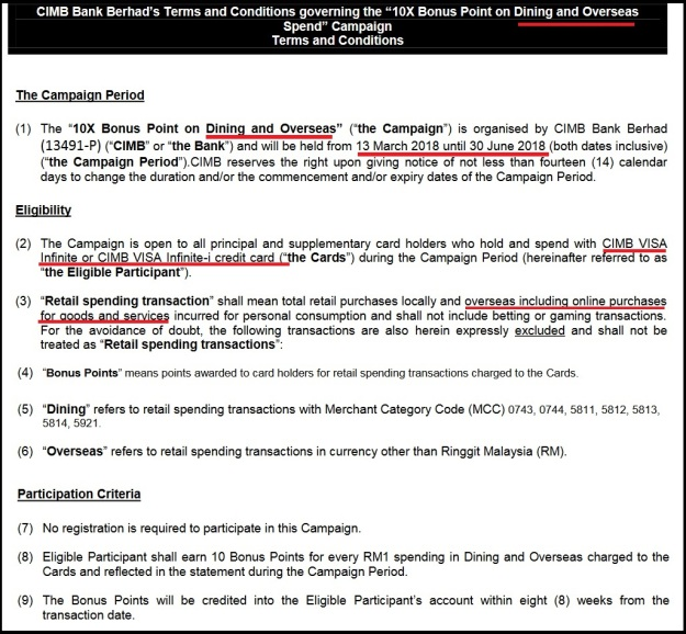 CIMB Visa Infinite Bonus 10X Points
