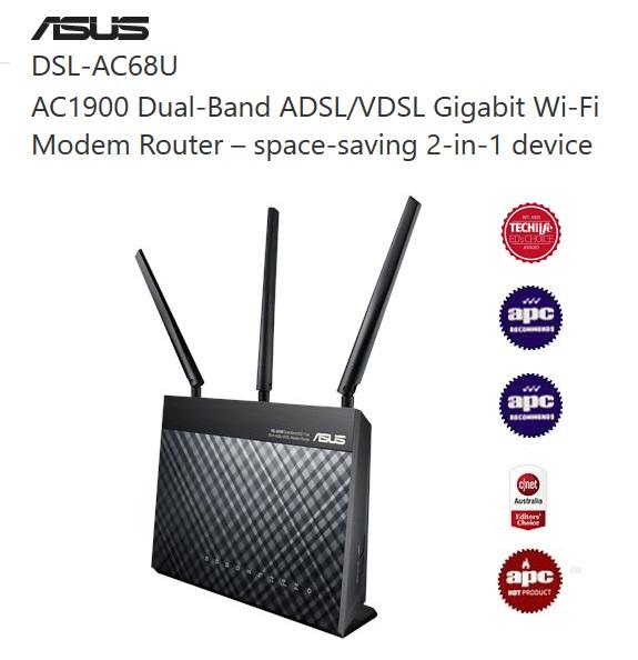 Asus DSL-AC68U AC1900 Dual Band Modem Router