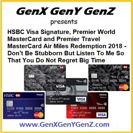 HSBC Premier World MasterCard Air Miles Redemption Coversion 2018