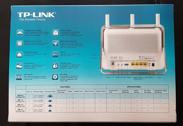 Tp-Link Archer D9 Dual Band AC1900 Box Rear