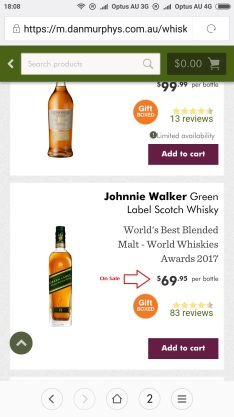 Johnnie Walker Green Label price in Melbourne Australia
