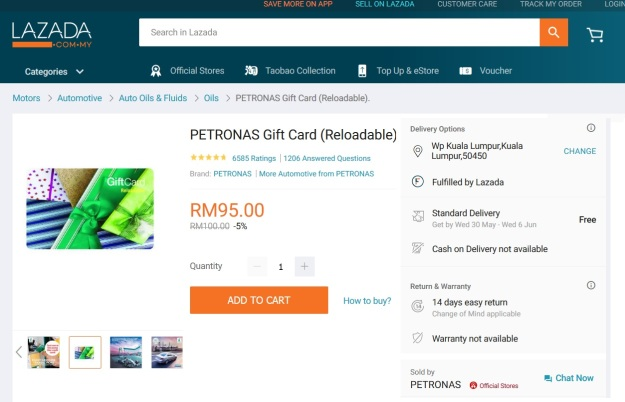 Lazada Pteronas Gift Card 100