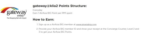 AirAsia big Points Klia2 gateway