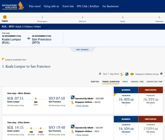 SIN SFO Price Business First