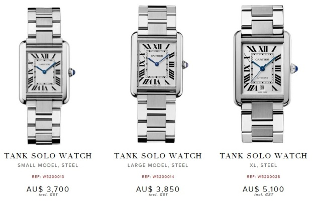 Cartier Tank Solo Small vs Large vs Extra Large XL price