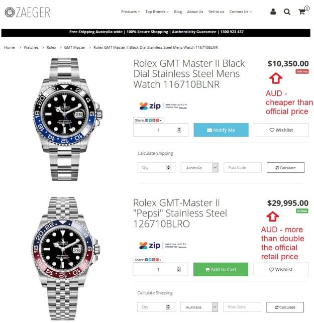Rolex GMT Master Batman 116710BLNR Pepsi 126710BLRO Price Australia.jpg