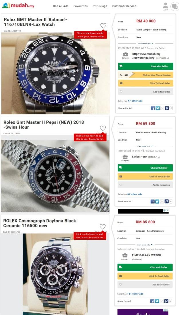 Rolex GMT Master Batman Pepsi Daytona Price Malaysia 2018 2019.jpg