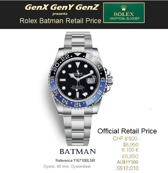 Rolex GMT Master II Batman 116710BLNR Retail Price Australia Switzerland USA France UK Singapore