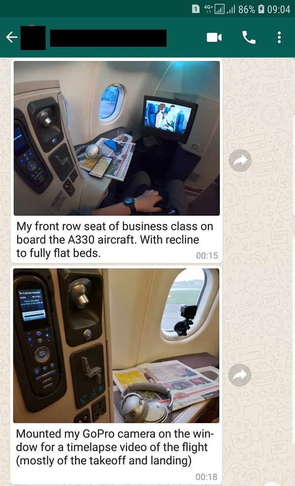 Cathay Pacific Airbus A330 Singapore to Hong Kong Business Class.jpg