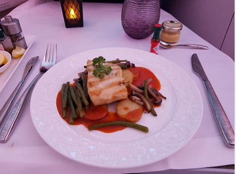 Qatar Airways Business Class Food Fish