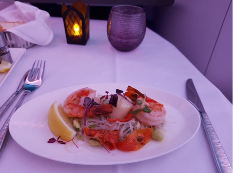 Qatar Airways Business Class Salad