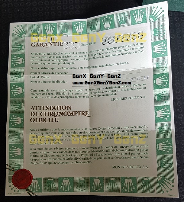Rolex GMT Master 16700 Warranty Card 1988 Photo 2.jpg