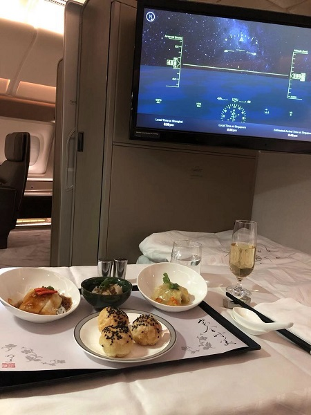 Singapore Airlines Aribus A380 New Suite Food 1