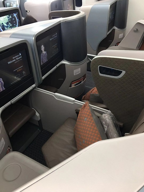 Singapore Airlines Business Class Boeing 787 Nagoya to Singapore Seat 5