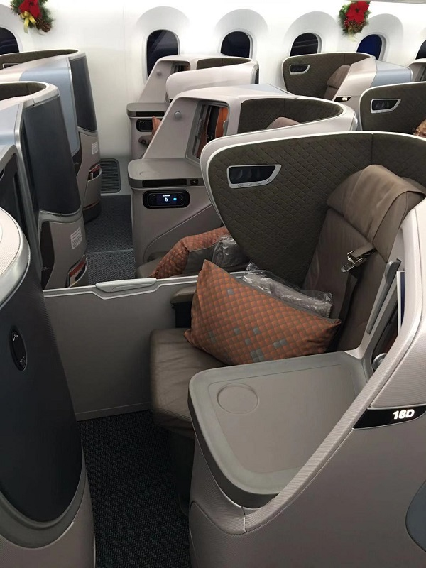 Singapore Airlines Business Class Boeing 787 Nagoya to Singapore Seat 6