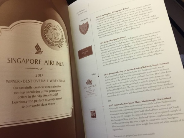 Singapore Airlines First Class to Paris Boeing 777 Drinks and Food 3