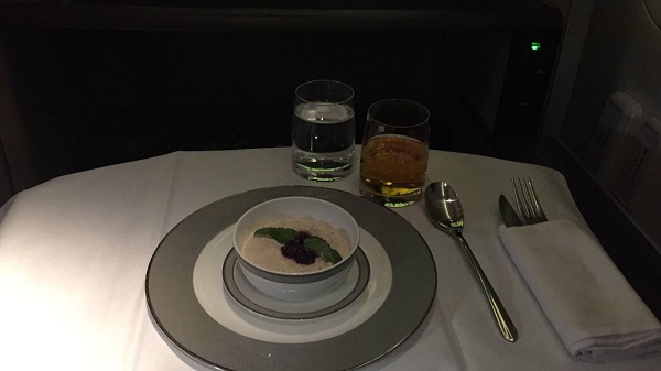 Singapore Airlines First Class to Paris Boeing 777 Drinks and Food Breakfast 1
