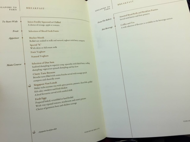 Singapore Airlines First Class to Paris Boeing 777 Drinks and Food Breakfast