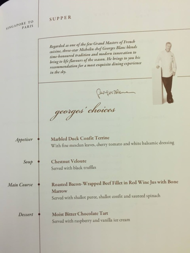 Singapore Airlines First Class to Paris Boeing 777 Drinks and Food Supper 1