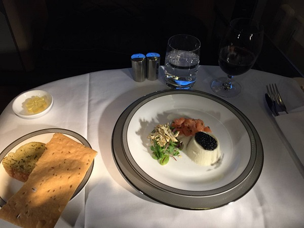 Singapore Airlines First Class to Paris Boeing 777 Drinks and Food Supper 2