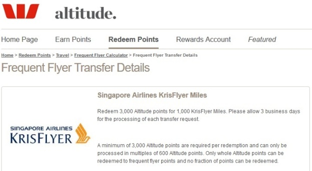 WestPac Altitude Points Singapore Airlines