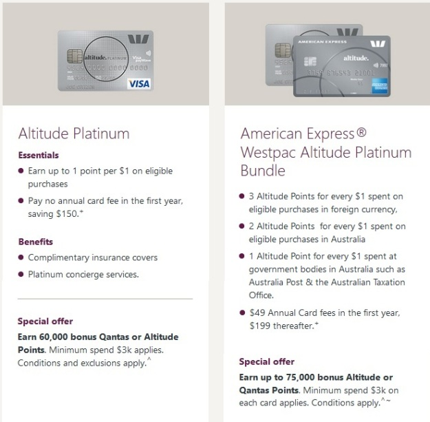 Westpac Altitude Platinum Amex Bundle