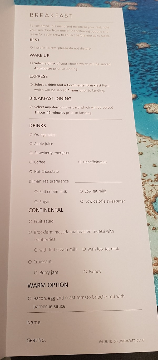 Qantas Business Class Airbus A330 Singapore to Melbourne Food Menu 2