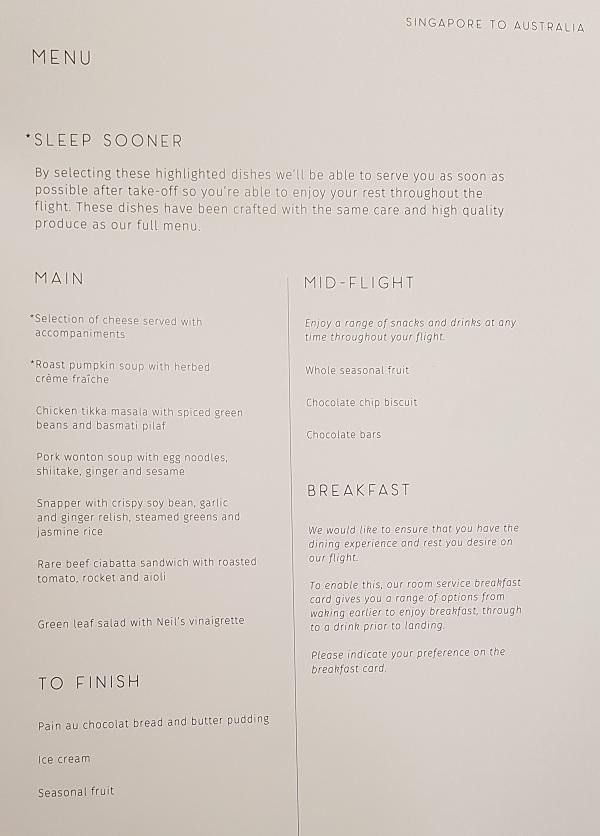 Qantas Business Class Airbus A330 Singapore to Melbourne Food Menu 3