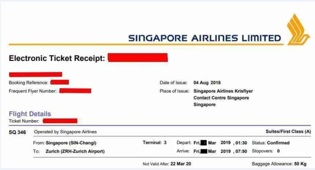singapore airlines suite class sg to zurich march 2019